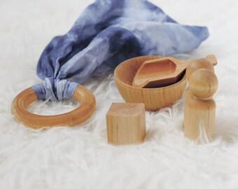 Montessori Toy Set - Wood Toy - Indigo- Montessori Toys - Montessori Toy Set - Modern Toys - Modern Toy Set -  Organic Toys - Wooden Toys