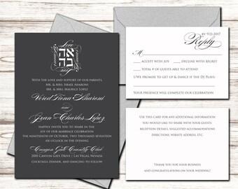 Printable Wedding Invitation Set - Wedding Invitation - Invitation - RSVP + Details Card - DIY Wedding - Ahava/Love Wedding Invite Suite
