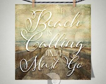 The Beach Is Calling Coastal Wall Art Print - coastal wall art - coastal decor - beach decor - wall art - art prints - gifts under 20