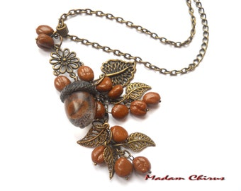 Brown necklace, choker necklace coffee, for her, gift, pendant with coffee, sculptural necklace coffee necklace ,vintage necklace