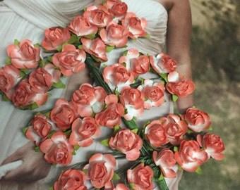 36 tiny paper flowers, Orange color   Paper flower, tiny orange flower, craft wedding roses,orange roses decor craft events, baptism,