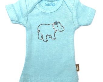 "16"" Sasha doll and MSD sized T-Shirt - Aqua Sparkly Hippo"