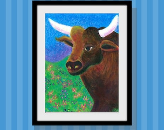 Kids Wall Art Ferdinand the Bull Art Print  10 x 14 Limited Edition Play Room Decor - Taurus