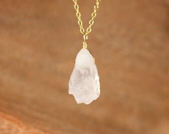 Rose quartz necklace - raw crystal necklace - raw rose quartz - pink crystal necklace - love necklace - healing crystal - january birthstone
