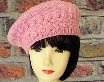Pink Beret, Alpaca, Wool Beret, Knitted Hat, Edwardian, Oversized, Winter Hats for Women, Gifts for Her, Sue Maun