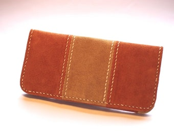 Leather Long Wallet, Pig Suede, Orange & Camel Leather, Handstitched, Free Shipping