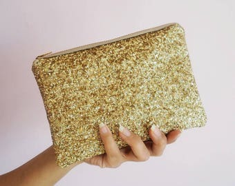Gold Rainbow Glitter Makeup Bag, Sparkly Gold Cosmetic Bag, Gold Glitter Clutch Bag, Spring Wedding Bag, Rainbow Glitter Toiletry Bag,