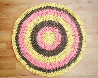Yarn rug, recycled fabric rug, retro rag rug, home decor