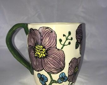 Mug with purple flowers