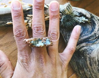Copper Electroformed White Druzy Ring - SIZE 7 - Electroplated Copper Druzy Statement Ring - Boho Chic One of a Kind Ring