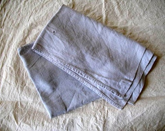 Pair of antique French linen chanvre tea towels or torchons, dyed, delicate pale lilac grey, original darn