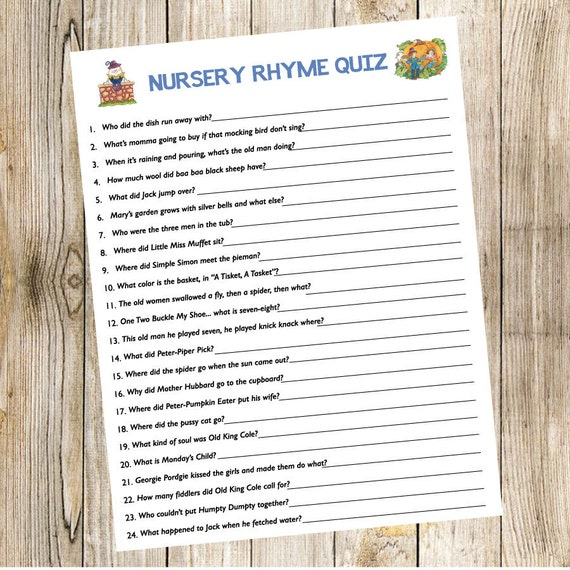 Book Baby Shower Game Nursery Rhyme Quiz Storybook Book