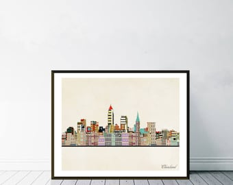 cleveland city ohio.cleveland city skyline.cleveland cityscape.colorful pop art skylines for home decor.Giclee art print.color your world