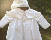 C I Castro  White Jacket, Dress, Hat Size 9 Months ~ Special Occasion, Christening, Baptism, Blessings