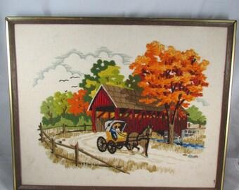 Crewel Embroidery Covered Bridge Autumn Countryside Horse Buggy Wall Art Framed Seasonal