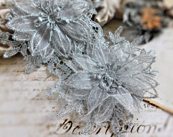 Beautiful Silver Lace Trim, 3 Layers Of Rayon Lace And Chiffon Creates A Stunning 3D Flower, 12 Continuous Flowers In Each Yard 102B