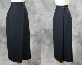 Ann Freedberg skirt, gray wool, high waist, long pencil wrap style skirt, small