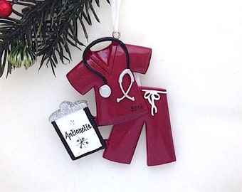 Maroon Scrubs Personalized Christmas Ornament / Nurse Christmas Ornament / Doctor Christmas Ornament / Personalized Ornament