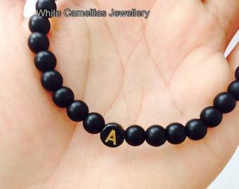 Custom initial bracelet, Name Bracelet, Men's initial bracelet, Men's bead bracelet,  6mm Onyx bead bracelet
