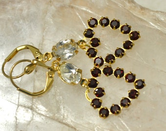Made with Swarovski Siam Crystal Rhinestone Heart Dangle Goldtone Shell detail Lever Earrings