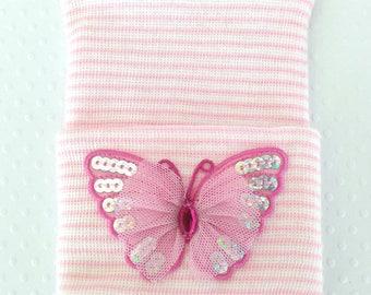Newborn Butterfly Hospital Hat-newborn hosptial hat- infant butterfly hat-baby girl hospital hat-newborn hospital hat-infant beanie