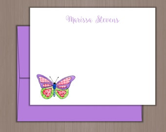 Personalized Note Card Set, Flat Note Cards, Personalized Stationery, Personalized Stationary, Custom Stationery, Butterfly Note Cards
