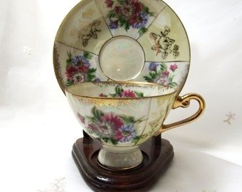 Lusterware Hand Painted, Demitasse Footed Cup and Saucer, Fine China Gold Gilding
