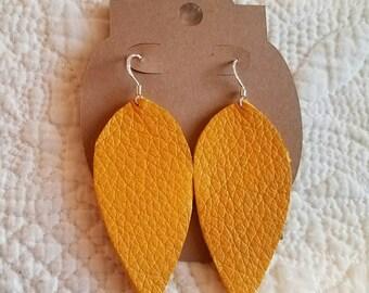 Genuine Leather Leaf Earrings in Mustard