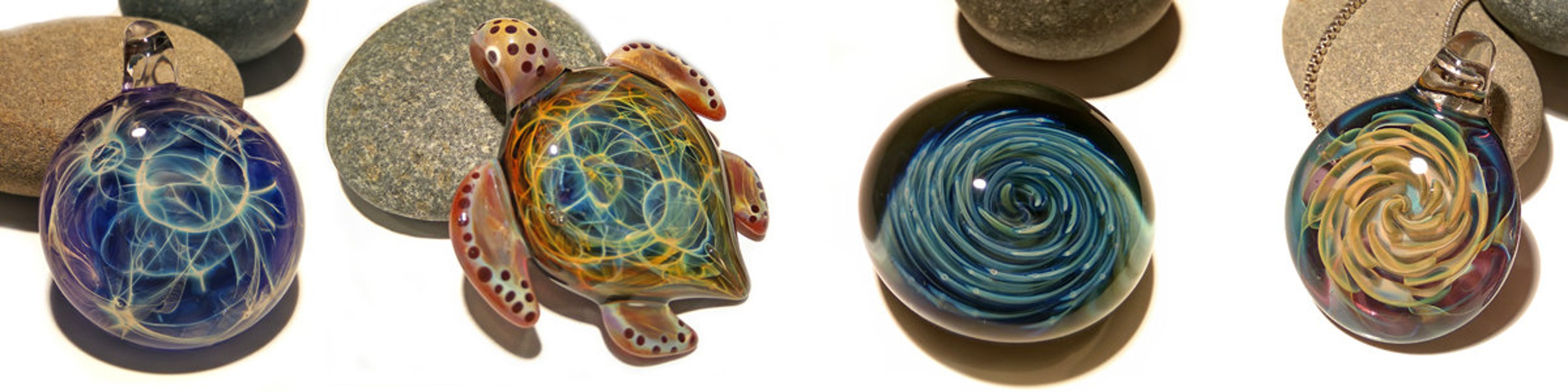 night sky turtle glass pendant glass jewelry glass art