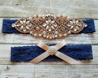 Sale -Wedding Garter and Toss Garter-Crystal Rhinestone with Rose Gold Details - Navy Blue Lace - Style G20904TRG