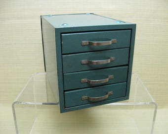 Small Metal Four Drawer Cabinet in a Neat Green Color - Industrial Chic