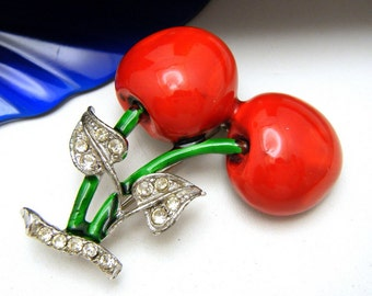 Vintage Rhinestone Enamel Cherry Brooch Deco Styling 1960s Construction