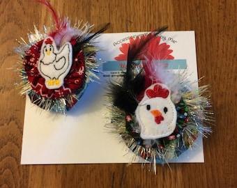 SALE half off-pigtail set-Felties-farm felties-chicken felty-farm hair bow-chicken pigtail sets-sister sets-pigtail sets-chicken hair bow