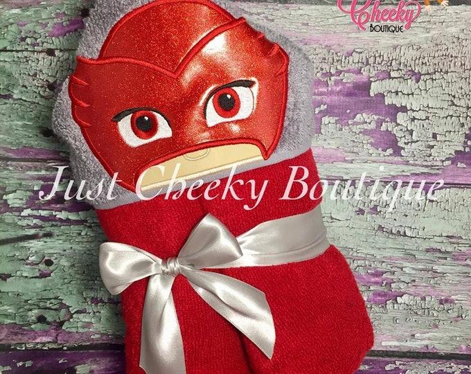 Bedtime Hero Inspired Hooded Towel - PJ Masks - Owelette - Disney Vacation - Disney Birthday -