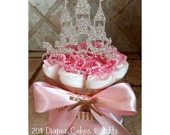 Glitter Gold U0026 Pink Princess Castle Mini Diaper Cakes For Baby Shower  Centerpiece Or Gift For