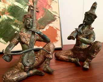 Set of Two Vintage Thai Temple Musicians Bronze/Brass Sculptures with Gold Detail Solid Metal Statues