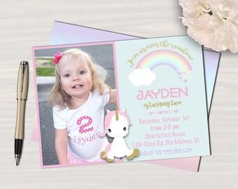 Rainbow Unicorn Party Invitation // Unicorn Birthday Picture Invitation // Gold Sparkle Unicorn // Digital // Printed