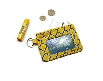 Yellow Moroccan quatrefoil print zippered id card holder keychain wallet.  Gift for her, stocking stuffer.