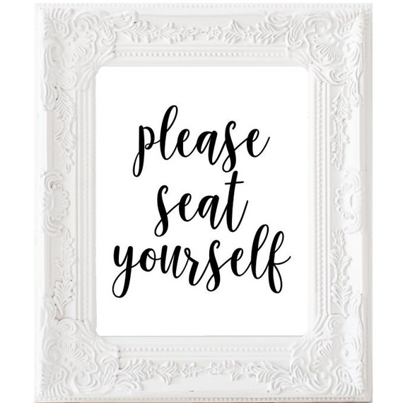 Please Seat Yourself Print Bathroom Wall Art Toilet Decor
