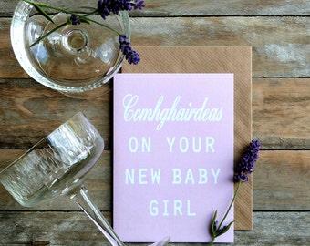 baby girl card as Gaeilge agus as Béarla - Irish made, bilingual, Irish language cards, comhghairdeas, newborn card, BG40