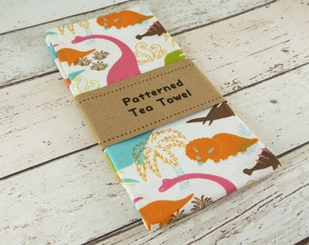 Doofy Dinos Cute Dinosaur Patterned Tea Towel