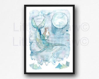 Cat Mermaid and Humpback Whale Moon Watercolor Illustration Wall Art Print Watercolor Painting Whale Cat Art Print Purrmaid Meomaid Mercat