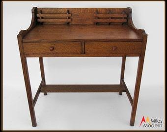 Antique 1900 Mission Arts & Crafts Quarter Sawn Oak Simple Writing Desk - NICE