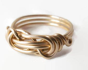 Gold Infinity Ring, Infinity Love Ring, Gold Ring, Size 4 5 6 7 8 9 10 11 12 13 14, Love Knot Ring, Infinity Knot Ring, Best Friend Rings