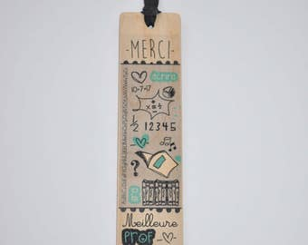 Best teacher - thank you - wooden bookmark