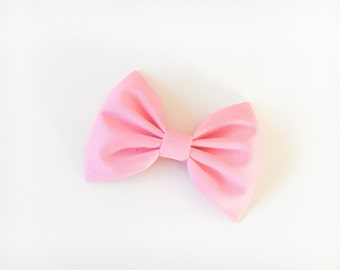 Pink bow pink hair bow fabric bow pink bow tie