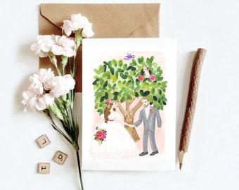 Custom Wedding Illustration Invitation Printable Couple Portrait Illustration
