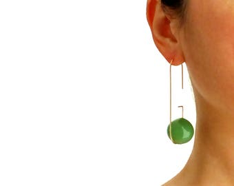 LOOP EARRINGS_GREEN | long earrings, bubbles earrings, gold earrings, glass earrings, minimalist earrings, green earrings, modern jewelry |