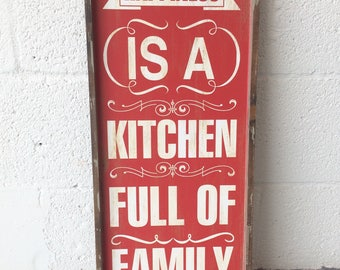 Family Kitchen Wood Wall Sign