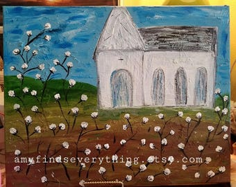 Church and Cotton Fields Painting